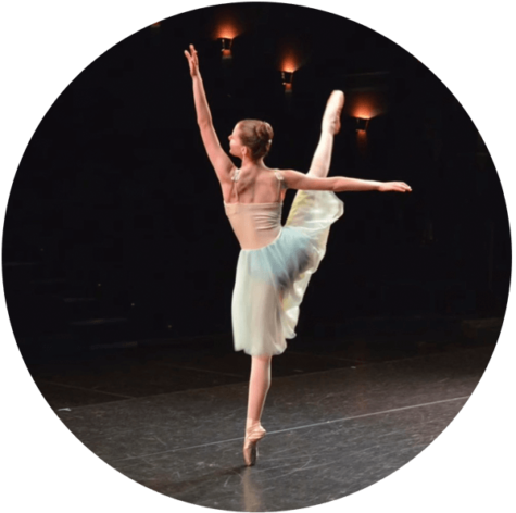 Ballerina dancing on stage