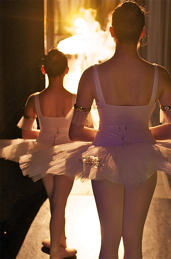 Girls walking on stage